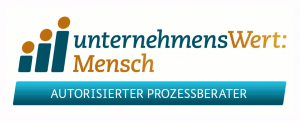 Logo Unternehmenswert:Mensch mit Slogan Autorisierter Prozessberater